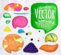 Set of plasticine design elements - stock illustration