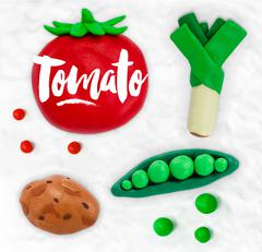 Plasticine vegetables tomato Stock Illustration