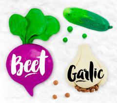 Plasticine vegetables beet - stock illustration