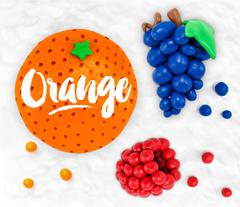 Plasticine fruits orange - stock illustration