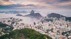 Pao Acucar or Sugar loaf mountain and Botafogo bay, Rio de Janeiro, Brazil - stock footage