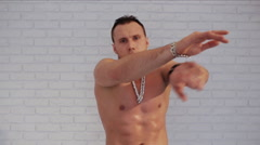 Dance for adults. Image of sexy brawny male dancer Stock Footage