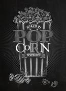 Poster popcorn sweet chalk - stock illustration