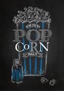 Poster popcorn salt black - stock illustration