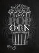 Poster popcorn chalk - stock illustration