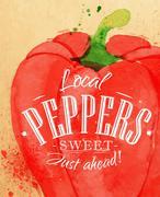Poster pepper - stock illustration