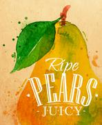 Poster pear - stock illustration