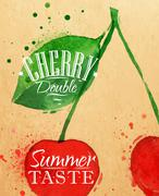 Poster cherry Stock Illustration