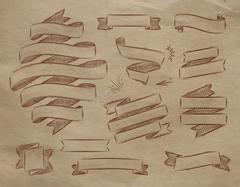 Ribbons vintage kraft Stock Illustration