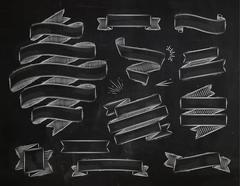 Ribbons vintage chalk - stock illustration