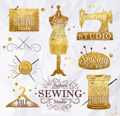 Sewing symbol gold Stock Illustration