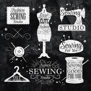 Sewing symbol chalk - stock illustration