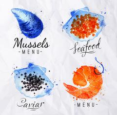 Watercolor signs seafood - stock illustration