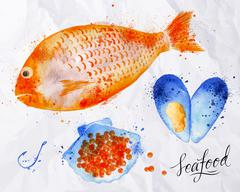 Seafood watercolor fish, red caviar, mussel Stock Illustration
