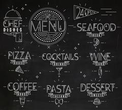Menu in vintage modern style lines drawn chalk - stock illustration