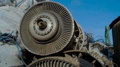 Broken Turbine Among Scrap Metal Stock Footage