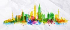 Silhouette overlay city Kuala Lumpur - stock illustration