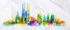 Silhouette overlay city Stock Illustration