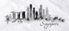 Silhouette ink Singapore - stock illustration