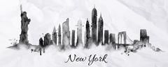 Silhouette ink New york - stock illustration