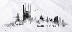 Silhouette ink Barcelona - stock illustration