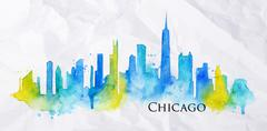 Silhouette watercolor Chicago Stock Illustration
