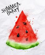 Poster summer party watermelon - stock illustration