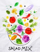 Stock Illustration of Poster salad mix watercolor
