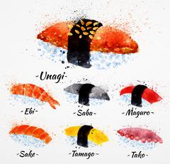 Sushi watercolor - stock illustration