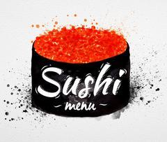 Sushi menu poster watercolor Stock Illustration