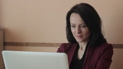 Woman working  at home office Stock Footage