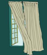 Curtains blowing near open window - stock illustration