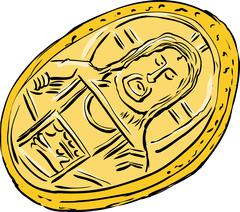 Ancient Byzantine Coin Sketch - stock illustration