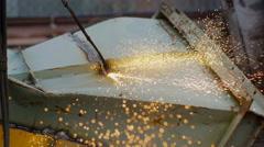 Gas Welder Makes a Cut Metal Spark - stock footage