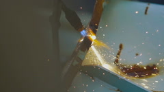 A Fiery Stream of Gas Wlder Cut a Metal Scrap Stock Footage
