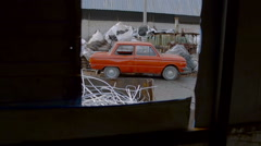 Old Vehicle in Junkyard Awaits For Recycling Metal Stock Footage