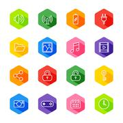 White line web icon set on colorful hexagon with shadow Stock Illustration