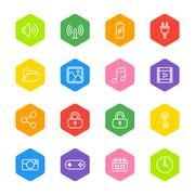 White line web icon set on colorful hexagon Stock Illustration