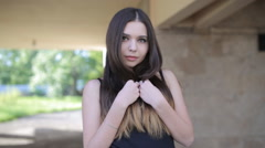 young sexy girl with big lips straightens hair - stock footage