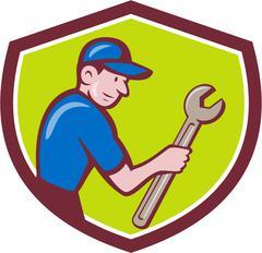 Handyman Holding Spanner Crest Cartoon Stock Illustration