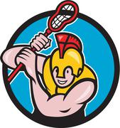 Gladiator Lacrosse Player Stick Circle Cartoon - stock illustration
