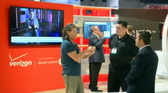 Verizon Wireless booth, NAB Show 2015 exhibition in Las Vegas, USA. Stock Footage