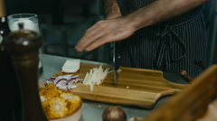 Restaurant Chef preparing ingredients for a salad. 60 FPS Stock Footage
