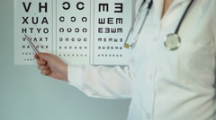 Optometrist examining patient and prescribing treatment and drugs, medicine - stock footage