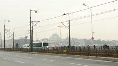 4k, traffic on the Galata Bridge. Istanbul, Turkey Stock Footage