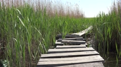 Wooden reeds among construction on the river for walking, 4k Stock Footage