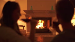 romantic evening at fireplace - stock footage