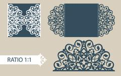 Template greeting card with openwork pattern Stock Illustration