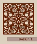 The template pattern for laser cutting decorative panel - stock illustration