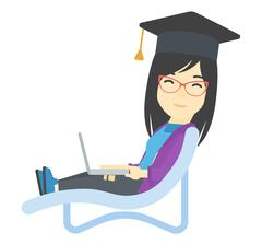 Graduate lying in chaise lounge with laptop - stock illustration